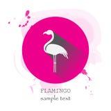 Ícone do flamingo com sombra longa Imagens de Stock