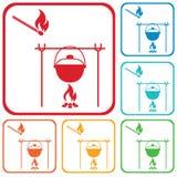 Ícone do fogo e do potenciômetro Imagens de Stock Royalty Free