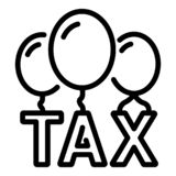 Ícone do formulário do balão do imposto, estilo do esboço ilustração do vetor