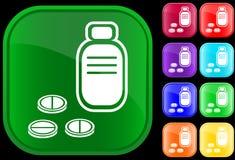 Ícone do frasco e dos comprimidos Fotografia de Stock
