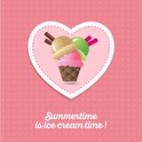 Ícone do gelado Três colheres do gelado em um copo do chocolate com baunilha e caramelo ilustração do vetor