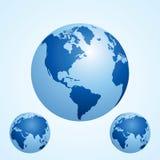 Ícone do globo com fundo azul Foto de Stock Royalty Free