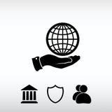 Ícone do globo com mão, ilustração do vetor Estilo liso do projeto Fotos de Stock Royalty Free