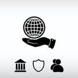 Ícone do globo com mão, ilustração do vetor Estilo liso do projeto Fotografia de Stock Royalty Free