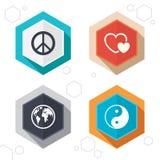 Ícone do globo do mundo Sinal de Ying yang Amor dos corações Imagem de Stock Royalty Free