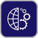 Ícone do globo e da engrenagem do vetor Imagens de Stock