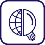 Ícone do globo e da lâmpada do vetor Foto de Stock Royalty Free