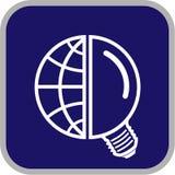 Ícone do globo e da lâmpada do vetor Fotografia de Stock Royalty Free