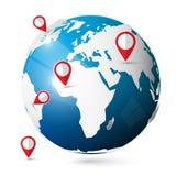 Ícone do globo do vetor com pinos Imagens de Stock Royalty Free