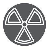 Ícone do glyph da radiação, aviso e símbolo, sinal de perigo, gráficos de vetor, um teste padrão contínuo em um fundo branco ilustração do vetor