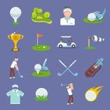 Ícone do golfe liso Imagem de Stock