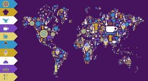 Ícone do gourmet ajustado no mapa do globo do mundo ilustração royalty free