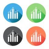 Ícone do gráfico da carta com sombra longa Imagens de Stock Royalty Free