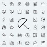 Ícone do guarda-chuva Grupo detalhado de ícones minimalistic Projeto gráfico superior Um dos ícones da coleção para Web site, des ilustração royalty free