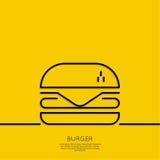 Ícone do Hamburger em um fundo amarelo ilustração do vetor