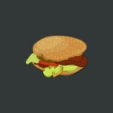 Ícone do hamburguer em um fundo escuro Fotos de Stock