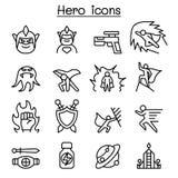 Ícone do herói ajustado na linha estilo fina Foto de Stock Royalty Free