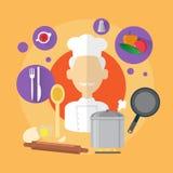 Ícone do homem de Professional Cook Senior do cozinheiro chefe Fotos de Stock Royalty Free