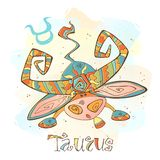 Ícone do horóscopo do ` s das crianças Zodíaco para crianças Taurus Sign Vetor Símbolo astrológico como o personagem de banda des ilustração royalty free