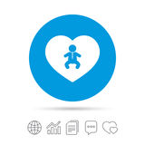 Ícone do infante do bebê do amor Símbolo do menino da criança Imagem de Stock Royalty Free