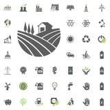 Ícone do jardim Grupo do ícone do vetor de Eco e da energia alternativa Vetor ajustado do recurso de poder da eletricidade da fon ilustração stock