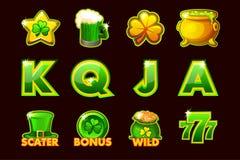 Ícone do jogo do vetor de símbolos de StPatrick para slots machines e uma loteria ou um casino Ajustado 12 ícones ilustração royalty free