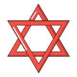 Ícone do judaism da estrela de David, estilo dos desenhos animados ilustração stock
