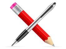 Ícone do lápis e da pena Imagem de Stock Royalty Free