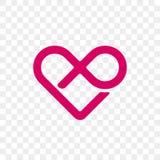 Ícone do laço da infinidade do vetor do logotipo do coração ilustração do vetor