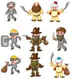 Ícone do ladrão dos desenhos animados Fotos de Stock