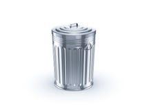Ícone do lixo do metal no fundo branco Fotos de Stock Royalty Free