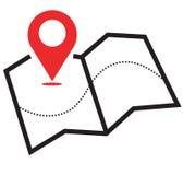 Ícone do mapa ilustração stock
