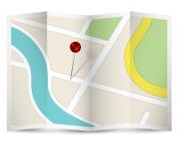 Ícone do mapa com Pin vermelho Imagens de Stock
