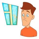 Ícone do medo do vento, estilo dos desenhos animados ilustração stock