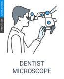 Ícone do microscópio do dentista ilustração royalty free