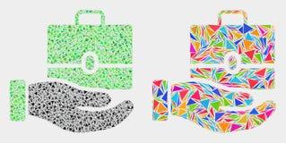 Ícone do mosaico do caso da oferta da mão do vetor de elementos do triângulo ilustração royalty free