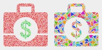 Ícone do mosaico do caso do negócio do vetor dos triângulos ilustração stock