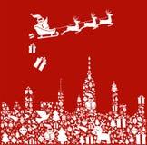 Ícone do Natal ajustado na forma da cidade com Santa Imagens de Stock