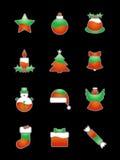 Ícone do Natal ajustado no preto Imagem de Stock