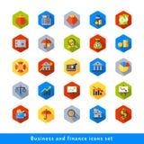 Ícone do negócio e da finança ajustado no plano Fotografia de Stock Royalty Free