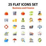 Ícone do negócio e da finança ajustado no plano Imagens de Stock Royalty Free