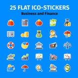 Ícone do negócio e da finança ajustado no plano Fotos de Stock