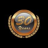 Ícone do ouro 30 anos de aniversário ilustração do vetor