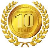 Ícone do ouro da celebração do aniversário Fotografia de Stock Royalty Free
