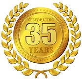 Ícone do ouro da celebração do aniversário Fotografia de Stock