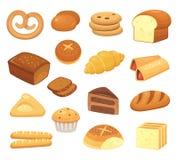 Ícone do pão dos desenhos animados Pães e rolos Rolo francês, brinde do café da manhã e fatia doce do bolo Ícones do vetor dos pr ilustração stock