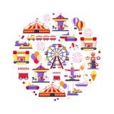 Ícone do parque de diversões ajustado na forma do círculo Foto de Stock Royalty Free