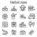 Ícone do parque de diversões ajustado na linha estilo fina ilustração royalty free