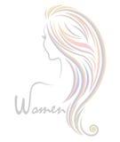 Ícone do penteado da cor das mulheres, mulheres do logotipo no fundo branco ilustração do vetor
