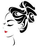 Ícone do penteado das mulheres, cara das mulheres do logotipo ilustração do vetor